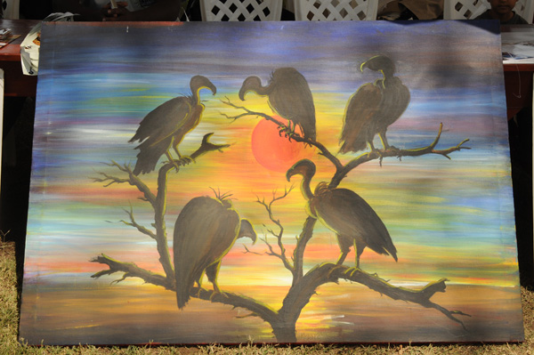 A Vulture Painting presented to our hosts Ol Pejeta Conservancy