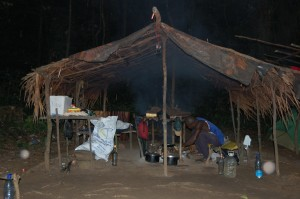 Typical hunting camp in the Ebo forest